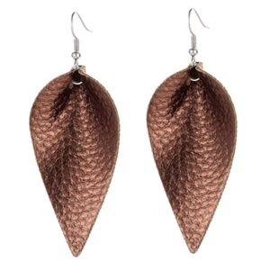 Jewelry - Faux Leather Tear Drop Earrings Brown